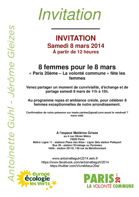 Invitation A La Journee 8 Femmes 8 Mars Antoinette Guhl